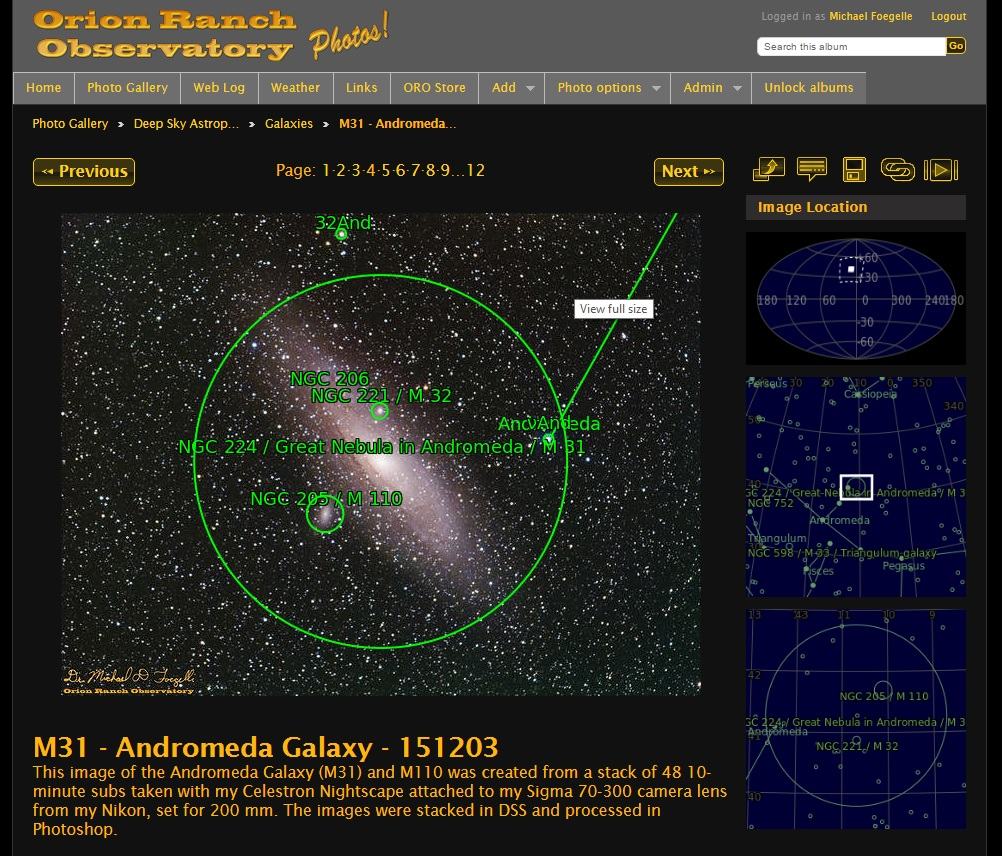 Example astrometry gallery page.